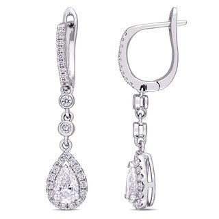 Miadora Signature Collection 14k White Gold 1 1/2ct TDW Round and Pear-Cut Diamond Leverback Dangle Earrings (G-H, SI1-SI2)