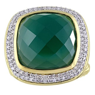 Miadora Signature Collection Yellow Plated Sterling Silver Dark Green Agate and 1/2ct TDW Diamond Halo Ring (G-H, I1-I2)