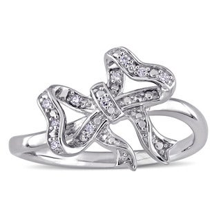 Laura Ashley Diamond Accent Ribbon Bow Ring in Sterling Silver