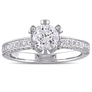 Laura Ashley 1 1/2 CT TW Diamond Royal Crown Engagement Ring in 14k White Gold