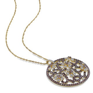 Miadora Signature Collection 14k Yellow Gold & Black Rhodium 2 1/10ct TDW Brown & White Diamond Floral Necklace (G-H,SI1-SI2)