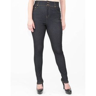 Indero Women's Double-waist Knit Denim Pants