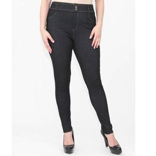 Women's Blue/Black Jean-look Plus Size Jeggings Pants