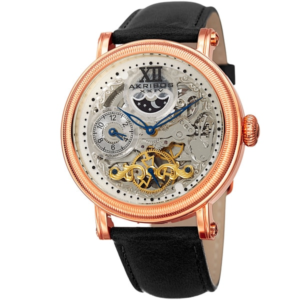 Akribos XXIV Men's Automatic Multifunction Skeleton Dual Time Black Leather Strap Watch. Opens flyout.