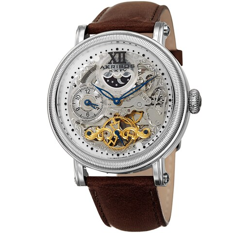 Akribos XXIV Men's Multifunction Automatic Skeleton Dual Time Brown Leather Strap Watch