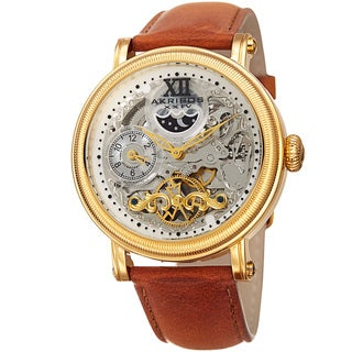 Akribos XXIV Men's Multifunction Automatic Skeleton Dual Time Tan Leather Strap Watch