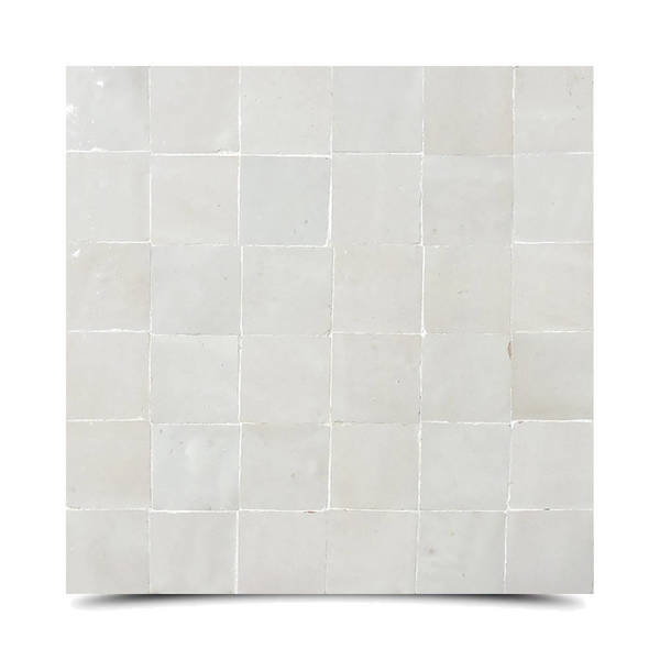Moroccan Handmade Mosaic Tile(Zellig)Off White, 12x12-in(Pack 6)