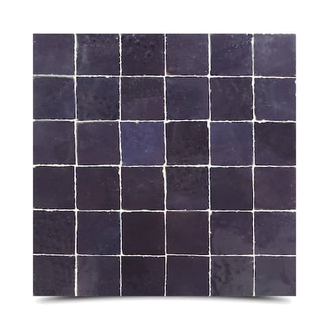 "Handmade Zellig in Purple Mosaic Tile, Pack of 6 - 12"" x 12"" (Morocco)"