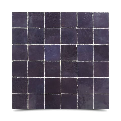 Handmade Solid Purple Mosaic Tile, Pack of 6 (Morocco)