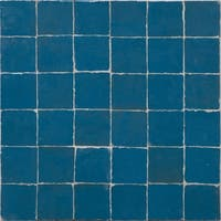 Moroccan Handmade Mosaic Tile(Zellig) Solid Blue, 12x12-in(Pack 6)