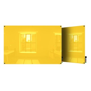 Ghent Harmony Yellow Glass 3' x 4' Square-corner Glassboard with 4 Markers and Eraser