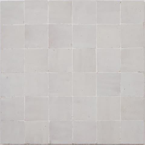 Moroccan Handmade Mosaic Tile(Zellig)Solid Beige, 12x12-in(Pack 6)