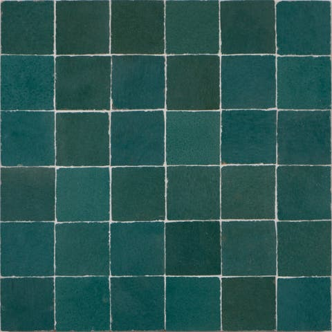Handmade Solid Green Mosaic Tile, Pack of 6 (Morocco)
