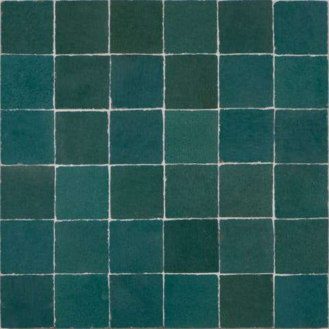 Moroccan Handmade Mosaic Tile(Zellig) Solid Green,12x12-in(Pack 6)