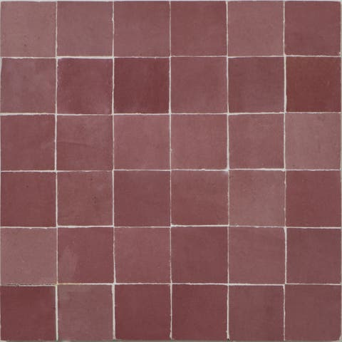 Handmade Solid Pink Mosaic Tile, Pack of 6 (Morocco)