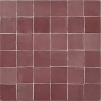 Moroccan Handmade Mosaic Tile(Zellig)Solid Pink,12x12-in(Pack 6)