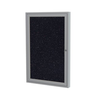 Ghent Confetti Satin Aluminum Frame/Recycled Rubber 24-inch x 18-inch 1-door Enclosed Bulletin Board