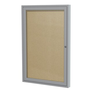1-Door Satin Aluminum Frame Enclosed Vinyl Bulletin Board - Caramel 24 inches x 18 inches