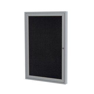 1-Door Satin Aluminum Frame Enclosed Recycled Rubber Bulletin Board - Black 36 inches x 24 inches