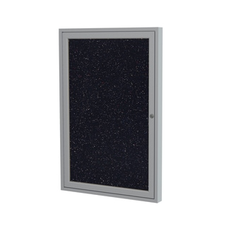 1-Door Satin Aluminum Frame Enclosed Recycled Rubber Bulletin Board - Confetti 36 inches x 30 inches
