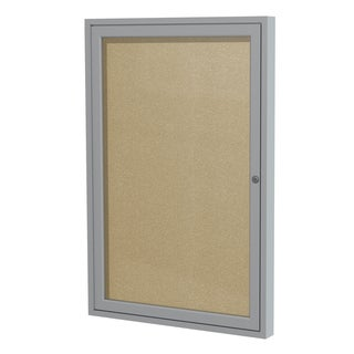 1-Door Satin Aluminum Frame Enclosed Vinyl Bulletin Board - Caramel 36 inches x 30 inches