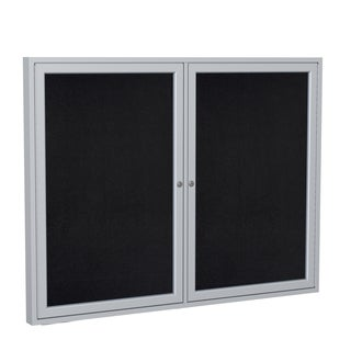 Ghent Black Recycled Rubber 2-door Aluminum Frame Enclosed Bulletin Board