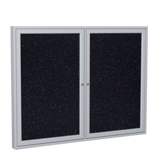 GhentSatin Aluminum Frame Enclosed Recycled Rubber 36-inch x 48-inch 2-door Bulletin Board