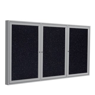Ghent Confetti Recycled Rubber 48-inch x 72-inch Enclosed Bulletin Board with 3 Doors and Satin Aluminum Frame