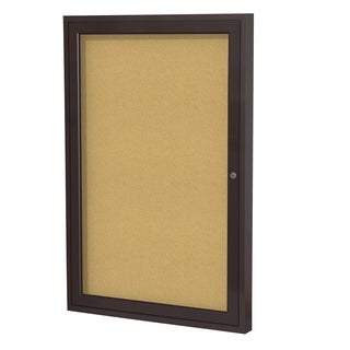 36 Inches x 24 Inches 1-Door Bronze Aluminum Frame Enclosed Bulletin Board - Natural Cork