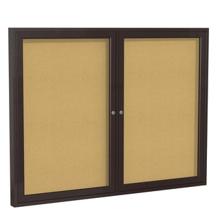 36-Inches x 60-Inches 2-Door Bronze Aluminum Frame Enclosed Bulletin Board - Natural Cork