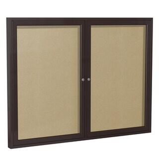 Ghent Caramel Vinyl/Bronze Aluminum Frame 36-inch x 60-inch 2-door Enclosed Bulletin Board
