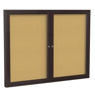 Bronze Finish Aluminum Frame Natural Cork 48-inch x 60-inch 2-door Enclosed Bulletin Board