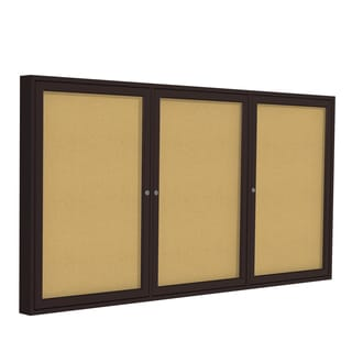 36 Inches x 72 Inches 3-Door Bronze Aluminum Frame Enclosed Bulletin Board - Natural Cork