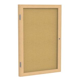 Ghent Natural Cork/Oak-finish Wood Frame 24-inch x 18-inch 1-door Enclosed Bulletin Board