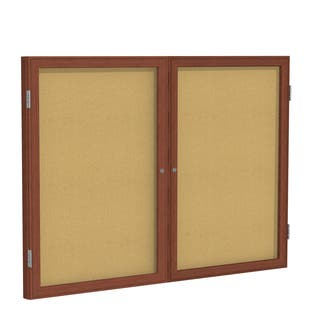 Ghent Natural Cork 36-inch x 48-inch 2-door Wood-framed Cherry-finished Enclosed Bulletin Board|https://ak1.ostkcdn.com/images/products/13829706/P20474881.jpg?impolicy=medium