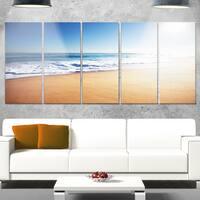 Designart 'Calm Blue Beach under Bright Sun' Seashore Canvas Metal Wall Art