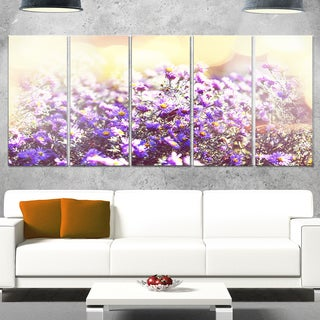 Designart 'Purple Little Wild Flowers' Extra Large Floral Glossy Metal Wall Art