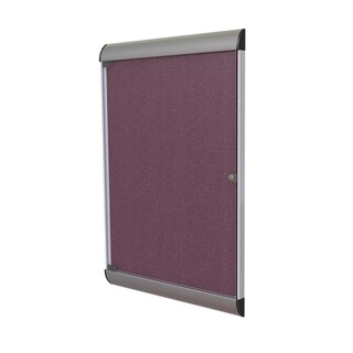 Ghent Berry 1-door Silhouette Enclosed Bulletin Board With Satin and Black Frame and Vinyl Fabric