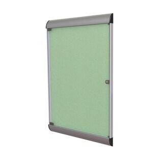 Ghent Mint Green Vinyl/Fabric/Aluminum Enclosed Bulletin Board