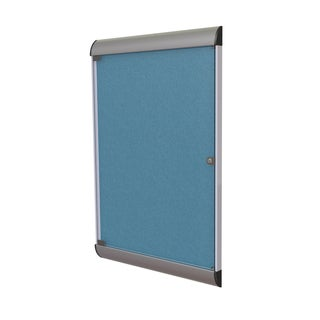 Ghent Ocean Blue Aluminum/Vinyl 1-Door Enclosed Bulletin Board