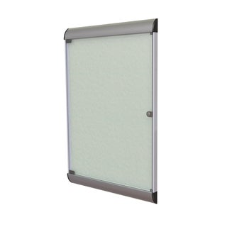 Ghent Silver Silhouette Enclosed Vinyl Fabric Bulletin Board