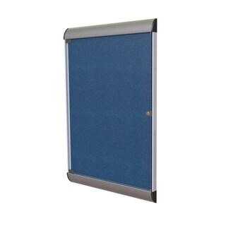 Ghent Navy Aluminum and Vinyl 42.125-inch x 27.75-inch 1-door Silhouette-enclosed Bulletin Board