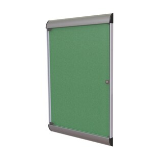 Ghent Green Aluminum and Vinyl 42.125-inch x 27.75-inch 1-door Silhouette Enclosed Bulletin Board