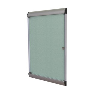 Ghent Grey Aluminum/Vinyl 1-door Silhouette Enclosed Bulletin Board
