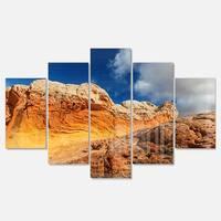Designart 'Vermillion Cliffs under Blue Sky' Oversized Landscape Glossy Metal Wall Art