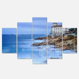 Designart 'Beautiful Italian Seashore View' Seashore Canvas Metal Wall Art