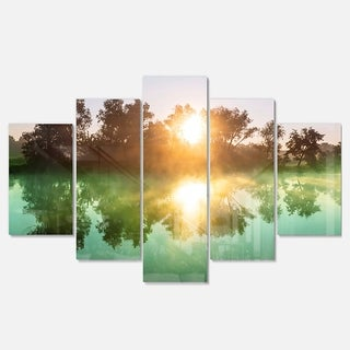 Designart 'Beautiful Summer River At Sunset' Oversized Landscape Glossy Metal Wall Art