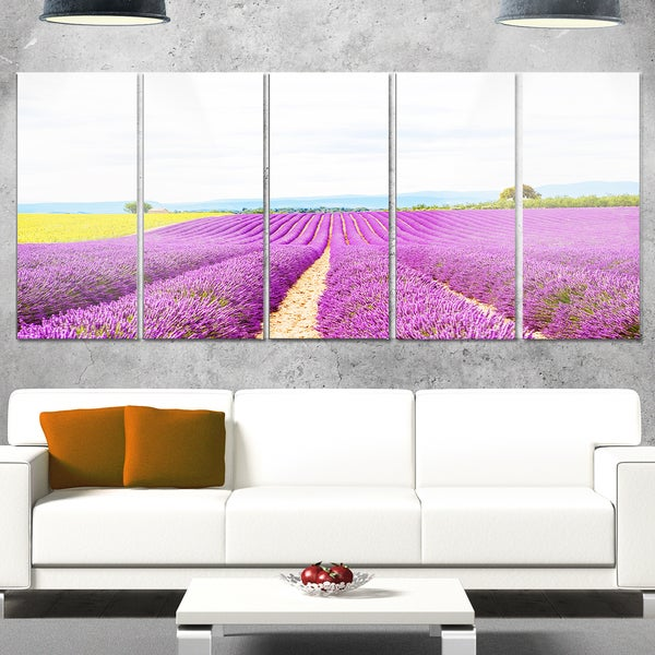 Designart \'Sunflower and Lavender Fields\' Landscape Glossy Metal ...