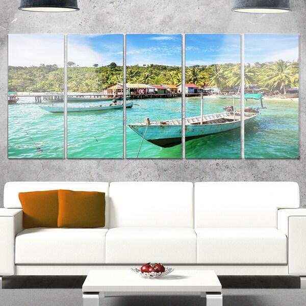Designart 'Fishing Boats in Kep Cambodia' Seashore Canvas Metal Wall Art