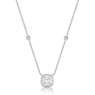 Samantha Stone Sterling Silver Cubic Zirconia Cushion Halo Necklace
